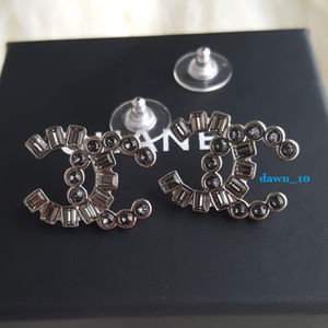 Chanel Large Grey Crystal CC Earrings, Silver.